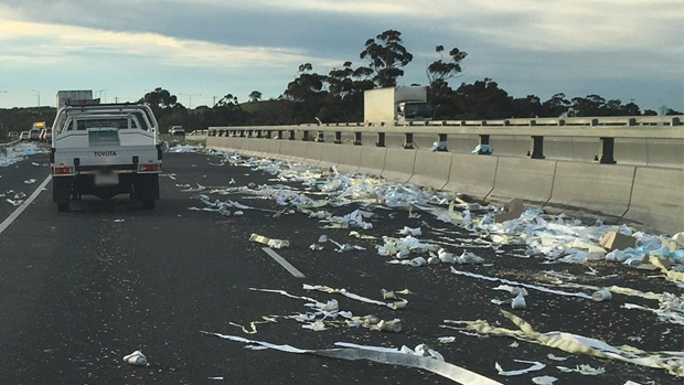 Article image for Truck loses load of toilet paper – sparking a string of jokes in the 3AW studio