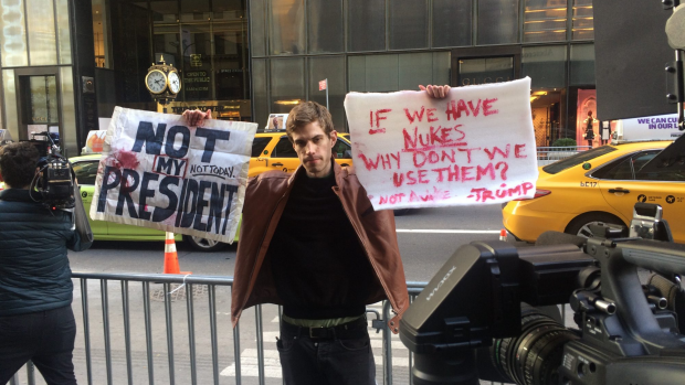 Article image for Neil Mitchell speaks to protester outside Trump Tower