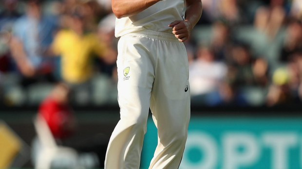 Article image for Hazlewood strikes with the last ball of the session