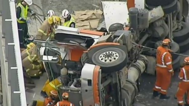 Article image for Driver freed after truck rolled in Dandenong South