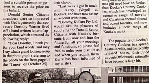 Article image for Truckie donates Kooka's cookies to the Senior Citizen's Club of Donald
