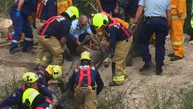 Article image for Man rescued after being trapped up to his nose in water for almost three hours