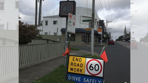 Article image for Neil Mitchell sent photo of confusing speed limit signs