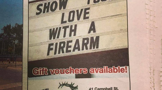 Article image for Gun shop tells lovers to 'show your love' with a firearm for Valentine's Day