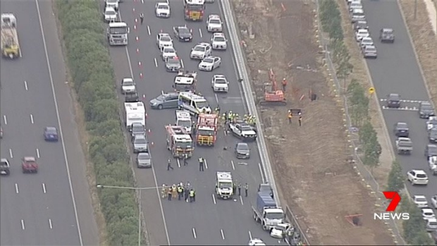 Article image for One person killed, several injured, as truck and cars collide on Princes Freeway