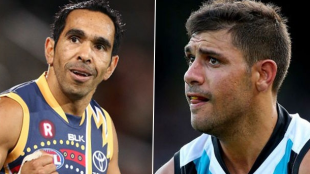 Article image for Adelaide and Port Adelaide investigate claims of racial slurs directed at Eddie Betts and Paddy Ryder