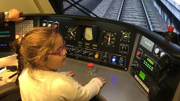 Article image for Five-year-old girl's dream to drive a train comes true