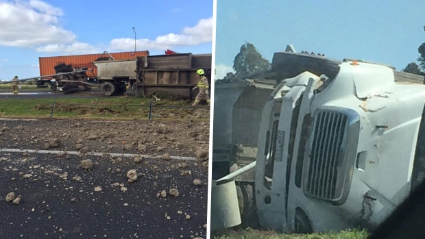 Article image for Truck rollover closes Ring Road