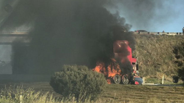Article image for 'Like a bomb going off': Truck in flames after shocking smash