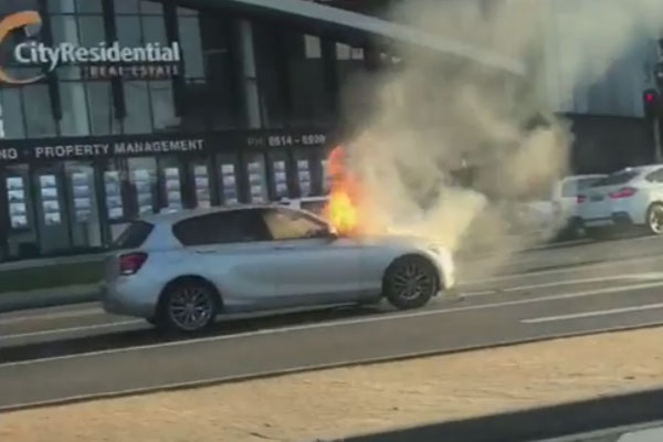 Article image for Car bursts into flames in Docklands