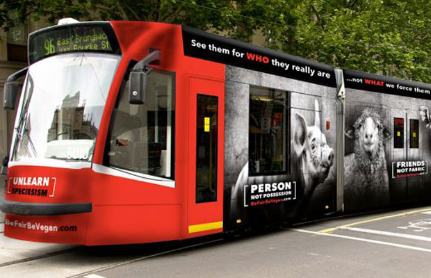 Article image for Vegan activists angered after Yarra Trams blocks ads