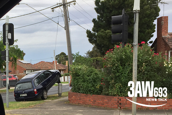 Article image for P-plate driver loses control, ends up perched on power pole