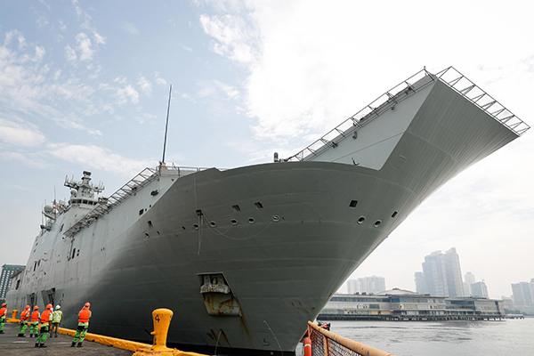 Article image for Australia's largest navy ship approaches the Port of Melbourne