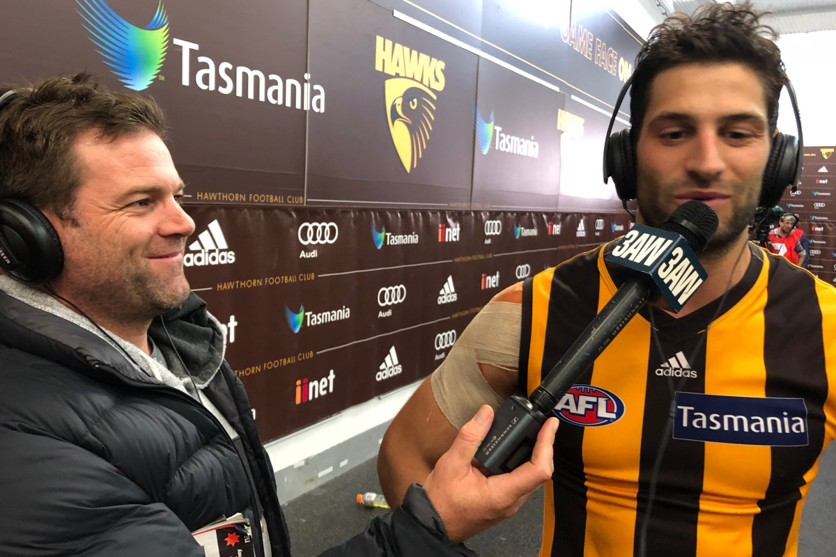 Article image for 'What dreams are made of': David Mirra celebrates a win on his Hawthorn debut