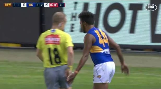 Article image for Dwayne Russell embarrassed by 'bum tap' fine for Willie Rioli