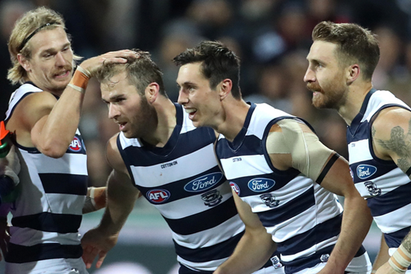 Article image for Hawkins matches GWS for goals as Geelong storms to victory