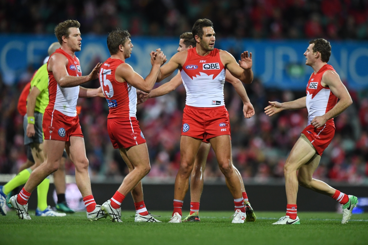 Article image for Swans join Eagles on top of the ladder with victory in Sydney