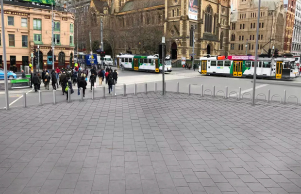 Article image for Delays warning as Flinders St gets the bollard treatment