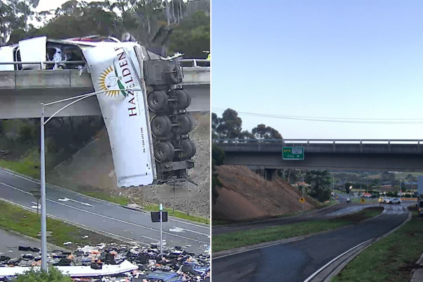 Article image for Calder Freeway set to reopen in time for morning peak after truck crash