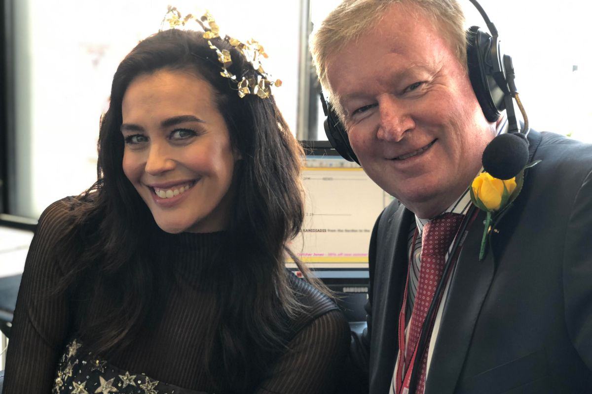 Article image for Megan Gale drops in to chat with Denis Walter at Flemington
