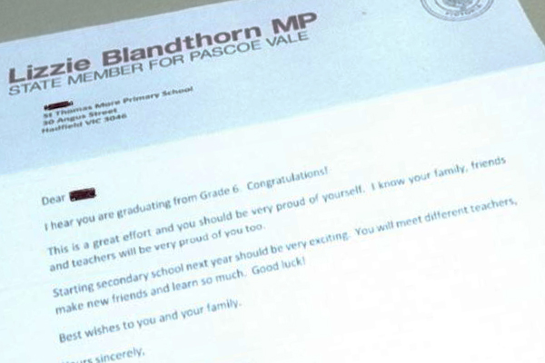 Article image for Labor MP in Melbourne's north sends letters to grade 6 students
