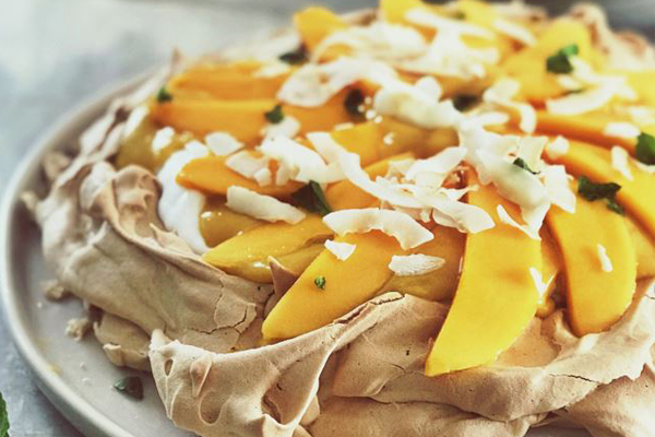 Article image for Recipe: Emma Dean's Brown Sugar Pavlova with mango curd and coconut yoghurt