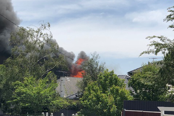 Article image for Out-of-control house fire in Carnegie