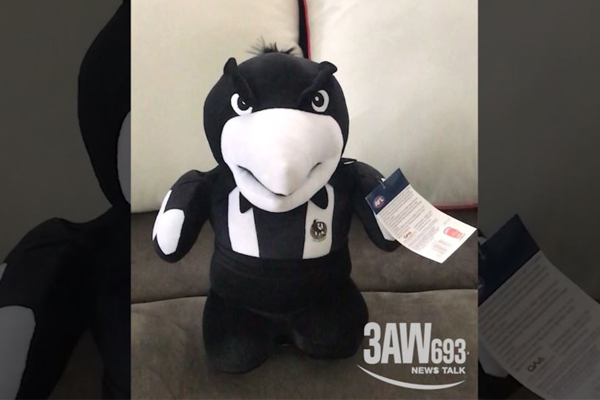 Article image for Child's Collingwood Football Club magpie toy sings a surprising tune
