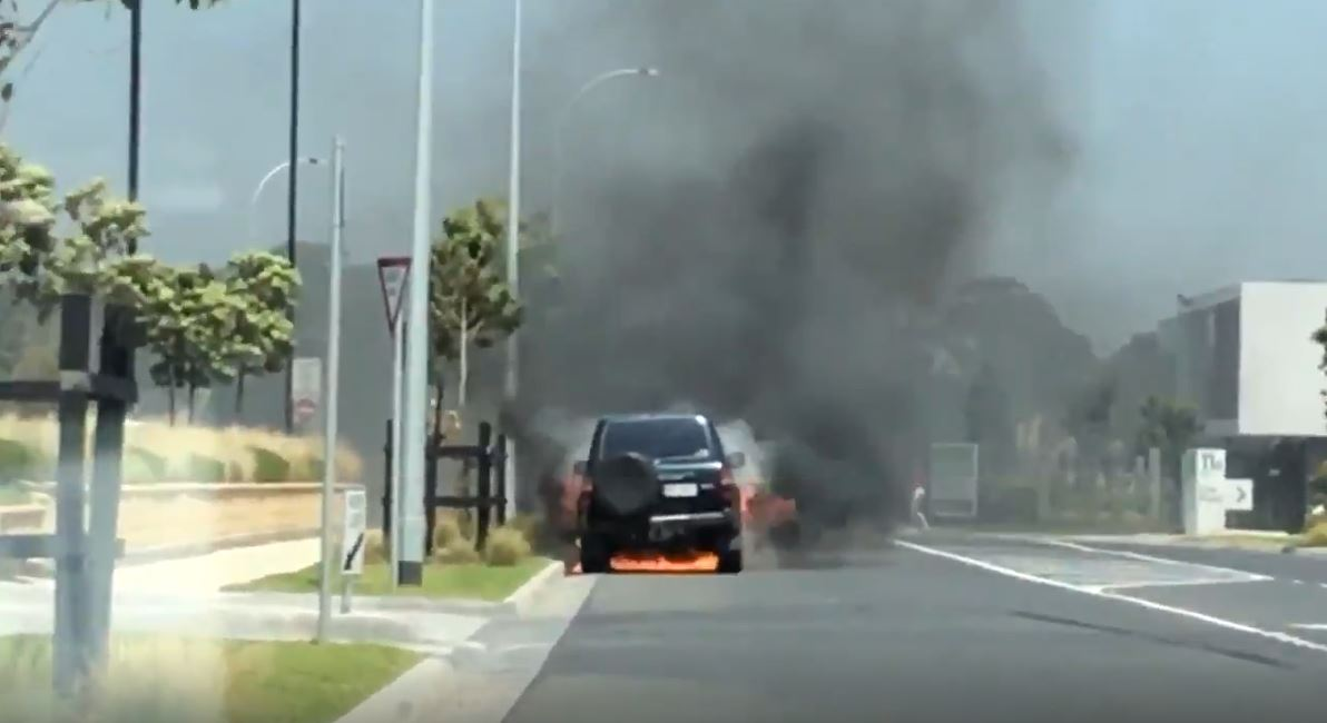 Article image for VIDEO: Car on fire near petrol station in Melbourne's southeast