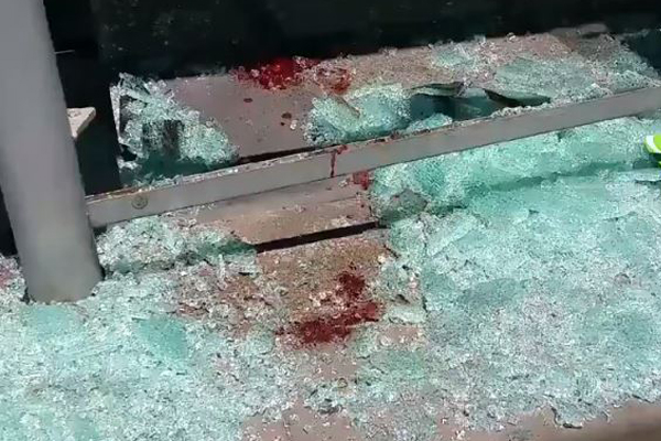"""Article image for """"Someone's lost a lot of blood"""": Tram stop smashed in the CBD"""