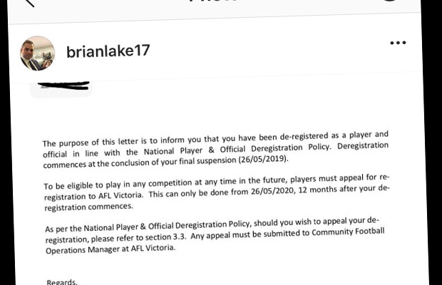 Article image for Brian Lake banned from playing footy