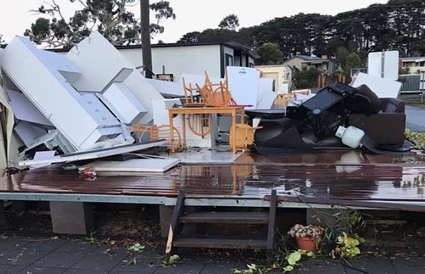 Article image for 'Tornado' rips through regional caravan park