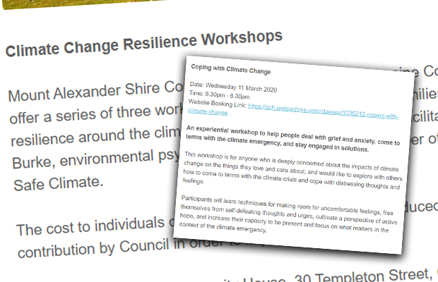 Article image for Council called into question over 'Climate Change Resilience Workshops'