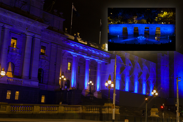 Article image for BATHED IN BLUE: Melbourne pays tribute to fallen police