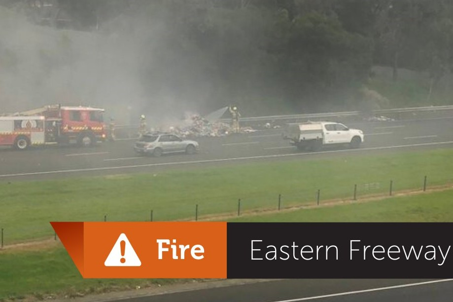 Article image for Garbage truck fire causes Eastern Freeway chaos