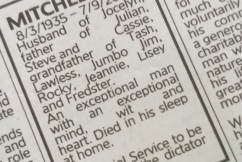 An unusual death notice has been spotted in the paper