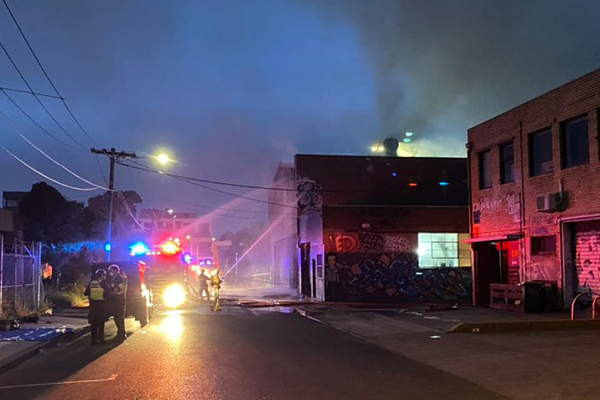 Article image for Firefighters battle major blaze at a Brunswick furniture factory