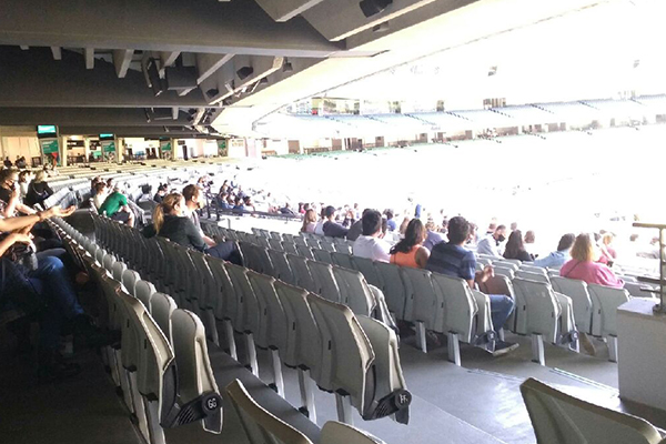 Article image for A crowd 'trial' appears to be underway at the MCG!