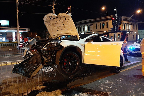 Article image for Drink-driver smashes Mercedes into Carlton tram barrier