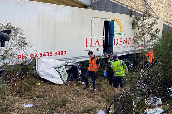 Article image for Truck driver 'very lucky' to be alive after horror Malmsbury smash