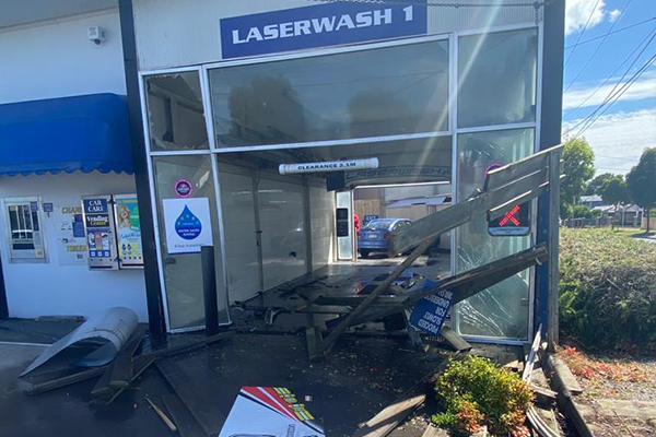 Article image for Driver veers off road and crashes into a Cheltenham car wash