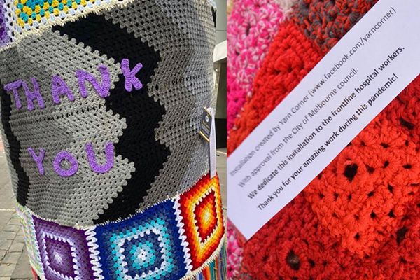 Article image for 'Yarn bombers' thank Melbourne's health care workers