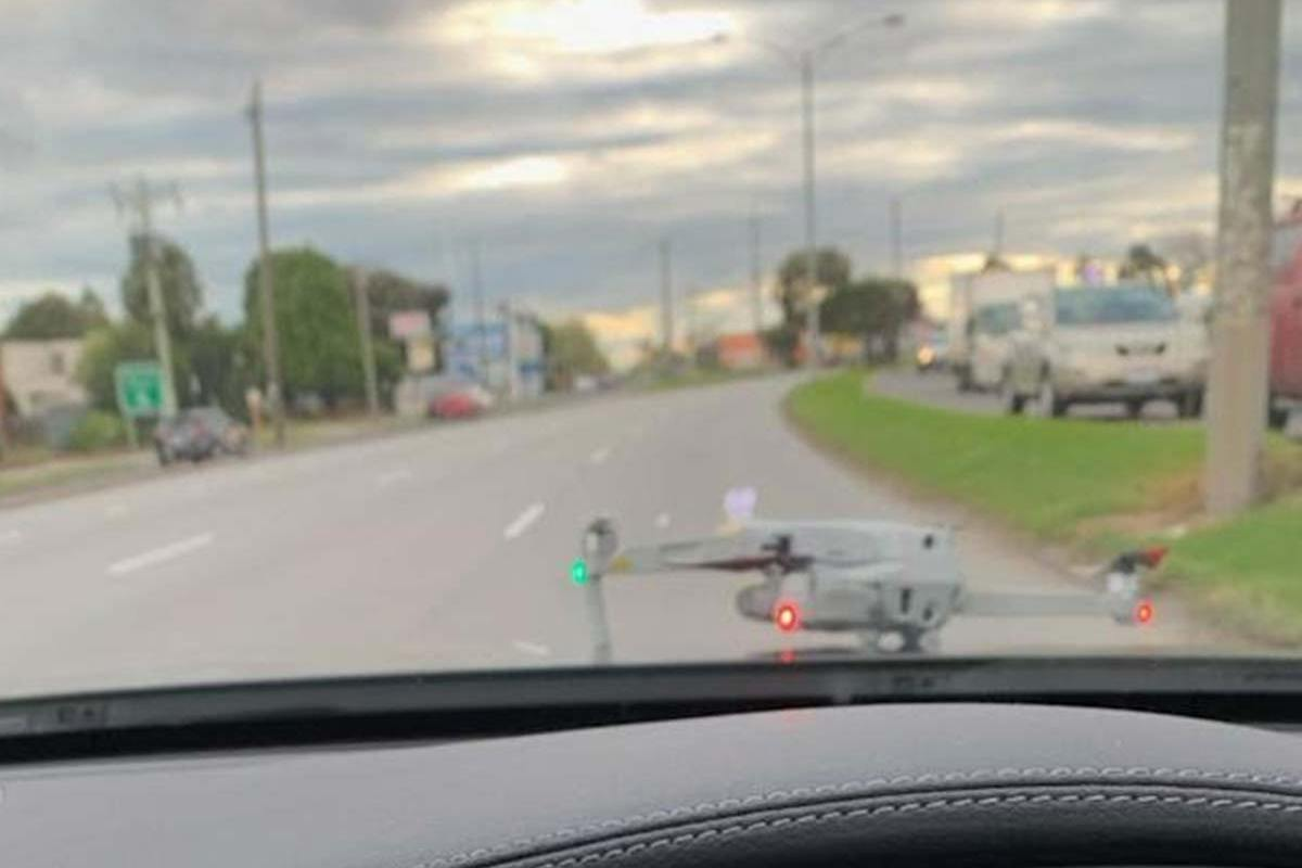 Article image for Motorist gets the shock of his life when drone lands on moving vehicle