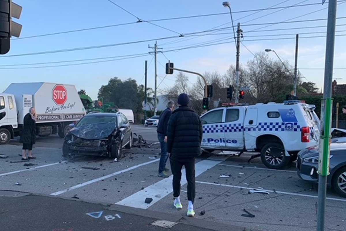 Article image for Police vehicle and car collide in Toorak