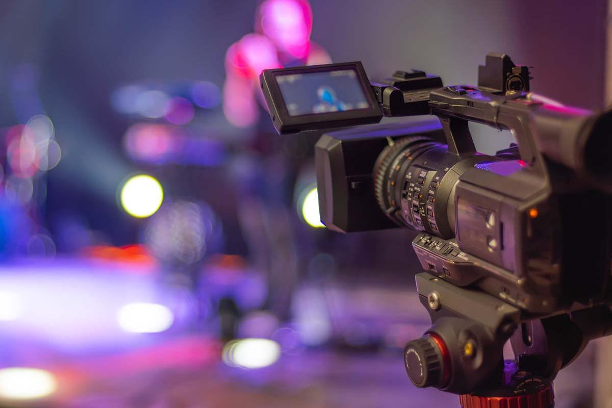Camera filming blurred stage